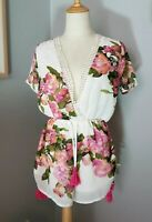 Reverse White & pink flower, floral playsuit romper short sleeve sexy size S