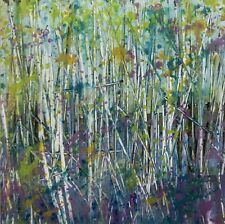 Silver Birches, Trees / Landscape Art. Original Acrylic Painting.