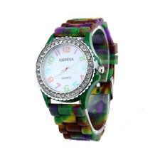 Ladies Fashion Geneva Silicone & Crystal Quartz Multi Colour Band Wrist Watch.