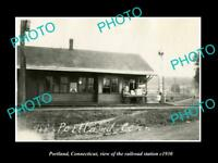 OLD LARGE HISTORIC PHOTO PORTLAND CONNECTICUT THE RAILROAD STATION c1930