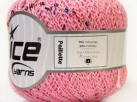 50Grams Ball Bead-sequin Paillette Pink Ice #33584 Polyamide Yarn-273 Yards