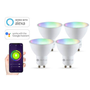 GU10 5,5W RGB+CCT Wi-Fi Smart LED-Lampe 400 Lumen 4er Set