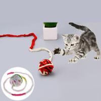 LD_ KQ_ Pet Cat Kitten Wool Plush Ball Rope Bite Chew Scratch Interactive Play