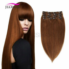 7A Remy Brazilian Clip In Human Hair Extension Full Head Straight Wave 100g 8Pcs