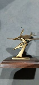 Stunning RAF spitfire model in solid brass with wooden stand