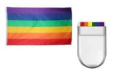 GAY PRIDE SET (FLAG & FANBRUSH) RAINBOW LGBT FACEPAINT FESTIVAL CARNIVAL