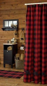 Red Black Buffalo Check Applique Bear Rustic Farmhouse Cotton Shower Curtain