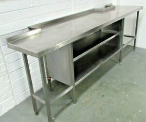 Rectangular Stainless Steel Prep Table with 2 Central Shelves Adjustable Feet