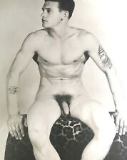 "VINTAGE 8X10"" BEEFCAKE PHOTOGRAPH TATTOOED NAVY NUDE STUDIO MODEL GAY INTEREST"
