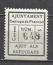 7259-SELLO LOCAL VIÑETA GUERRA CIVIL AJUNTEMENT ESPLUGA FRANCOLI REFUGIADOS **,S