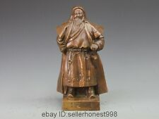 China Bronze Copper Yuan Dynasty Emperor Genghis Khan stand Sculpture Statue
