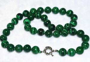 Beautiful 8mm round green malachite gemstone beads necklace vintage 18''