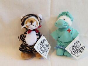 WEE BEAR VILLAGE Ganz Teddy Bears DOCTOR Feel Good + TIGER Saber