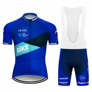 Blue Cycling Jerseys Men's MTB Bike Clothing Short Sleeve Shirt Bib Shorts Set