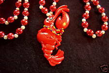 """Partying """"Mardi Gras Lobster"""" Necklace Seafood (B432)"""