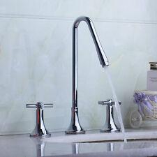 Bathroom Tub 3 PCS Waterfall Faucet Set Chrome Tap Dual Cros Levers Mixer Brass