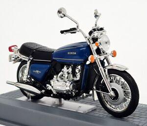 Ixo 1/24 Scale appx 8cms Honda GL 1000 Goldwing 1975 Blue Plinth Model Motorbike