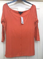 Dorothy Perkins Coral Ribbed Button Through Top Size 18 New With Tags