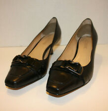 Circa Joan & David🌸 Leather Black Buckle Heels Women's Slip on SZ:8 M