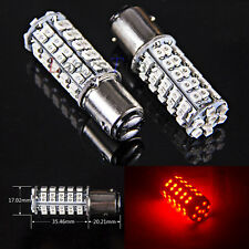 2x 1157 Red BAY15D 68-SMD Tail Brake Stop Led Light Bulb Camper Car Truck RV 12V