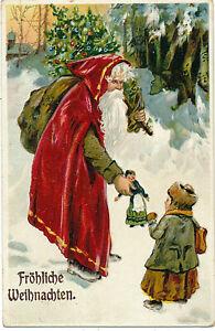AK, Weihnachten, Weihnachtsmann im roten Mantel schenkt Mädchen eine Puppe