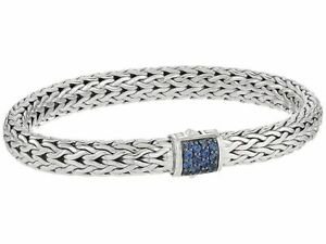 JOHN HARDY Sterling Silver Blue Sapphire 5mm Classic Chain Bracelet-Authentic