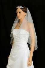 2T Ivory Elbow Length Pencil Edge Center Gathered Bridal Wedding Veil