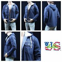 Mens Jean Jacket With Hoodie Urban Hipster Hip Hop Casual Denim Jacket S-2XL