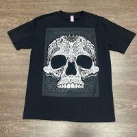 Paisley Sugar Skull Mens Graphic T-Shirt Black White Crew Neck 100% Cotton Tee L