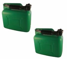2 UNLEADED PETROL FUEL CAN 5L 5 LITRE GREEN PLASTIC JERRY CONTAINER + SPOUT