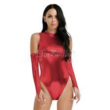 Sexy Women's PU Leather Wet Look Bodysuit Teddy Clubwear Lingerie Leotard Tops