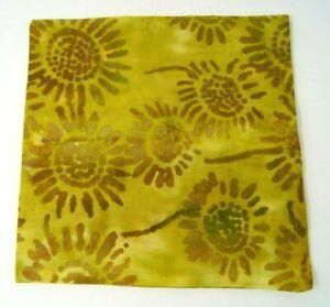 "Crate and Barrel Green Batik Cloth Napkin Floral 21"" Cotton Sunflower"