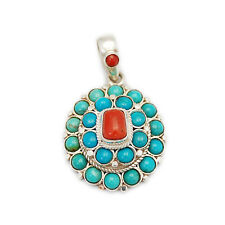 GENUINE TURQUOISE & RED CORAL 925 STERLING SILVER FINE FEMALE PENDANT gs-140