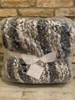 Pottery Barn Kline Chunky Knit Throw Blanket Gray Decor New