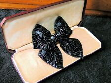 Bow - Bow - Bow Tie Brooch Unknown Period Large Ornate Sequined/Beads - Dickie