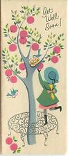 VINTAGE PINK APPLES PICKING TREE BLUE BIRD NEST GIRL GARDEN FLOWERS CARD PRINT