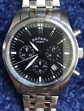 Men's Rotary Watch Chronograph GB00277/04 Steel Black Date Genuine
