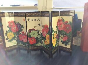 Chinese Lacquerware Dynasty Flowers Folding Screen 9""