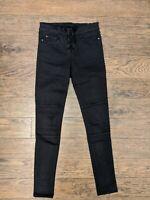 Denim Avenue Size 6 Black Superskinny Lace Up Jeans 30L