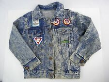 Vtg Kid's Acid Wash Denim Jacket w/ Patches YMCA Hilton Head Size 8 patched out