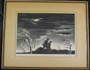 Vintage Original 1942 AAA Lithograph Twilight by Georges Schreiber Listed