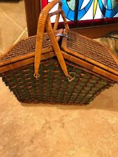Vintage Green / Brown Wicker Picnic Basket 2 Handles  Green Gingham Cloth Lined