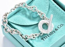 "Tiffany & Co Sterling Silver 8"" Toggle Charm Bracelet Love Pendant + Pouch"