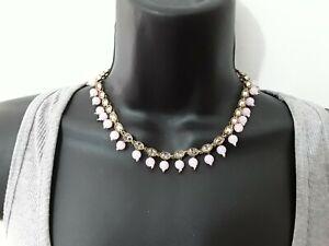 38cm Pink & Gold Tone Diamonte Choker Necklace ref:D210