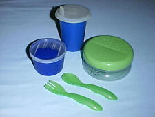 TUPPERWARE Toddler Sipper Cup Tumbler, Snack Bowl & Snack Cup, Spoon & Fork BLUE
