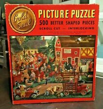 THE AUCTION Whitman Gold Seal Jigsaw Puzzle Interlocking Pieces Scroll Cut VTG