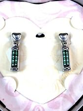 NIB BRIGHTON SILVER- PLATED FINISH TURQUOISE BEDAZZLED DANGLE PIERCED EARRINGS