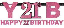 21st Birthday Party Supplies PINK BIRTHDAY BANNER Decorations Genuine