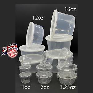 Round Food Containers Plastic Clear Storage Tubs Pots Sauce 1oz 3oz 4oz 16oz Pot