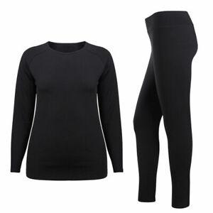 Womens Thermal Fleece Underwear Winter Sports Skiing Base Layer Top Bottom Set